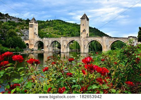 Medieval Stone Bridge At Cahors, France With Red Rose Flowers