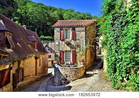 Picturesque Corner Of The Beautiful Dordogne Village Of Beynac, France