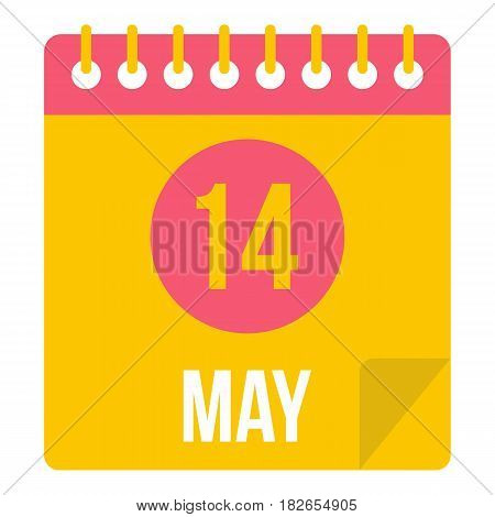 May 14 Calendar icon flat isolated on white background vector illustration