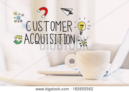 Customer Acquisition Concept With A Cup Of Coffee