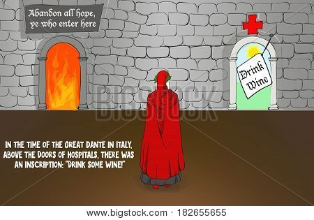 Dante Alighieri between hell and hospital vector Illustration