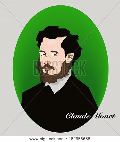 Claude Monet portrait in the vector Illustration