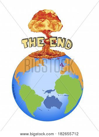 Apocalypse with explosion, the end vector illustration