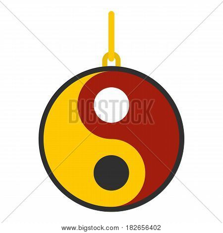 Ying yang symbol of harmony and balance icon flat isolated on white background vector illustration