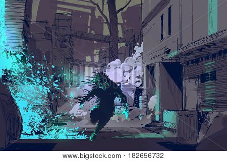 sci-fi concept of the futuristic beast running from blue light particles in city alley, illustration digital painting