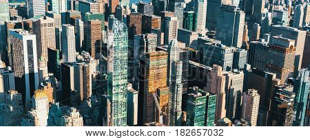 Aerial view of Midtown Manhattan skyscrapers close up