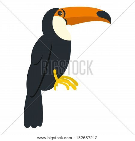 Toucan, ramphastos vitellinus icon flat isolated on white background vector illustration