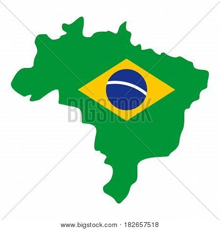 Map of Brasil icon flat isolated on white background vector illustration