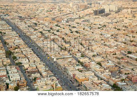 Aerial view of Riyadh downtown.