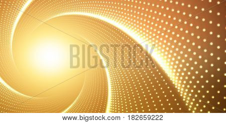 Vector infinite round twisted tunnel of shining flares on orange background. Glowing points form tunnel. Abstract cyber colorful background. Elegant modern geometric wallpaper. Shining points swirl.