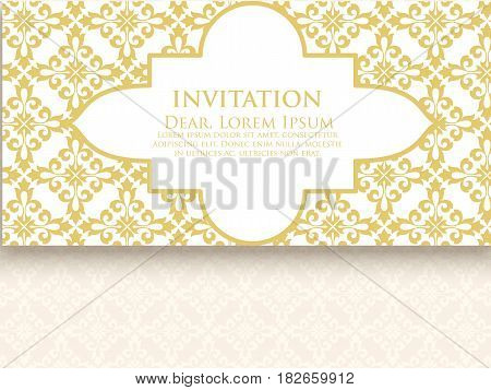 Invitation, cards with ethnic damask or arabesque elements. Abstract arabesque style design. Business cards. eps10