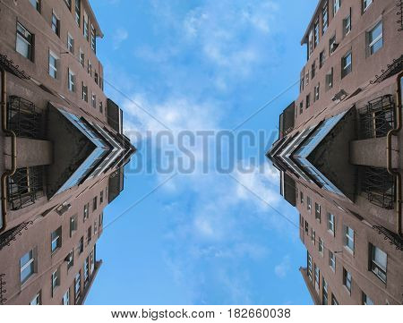 disappearing glass buildings in the morning, wide angle view, reflection abstract view