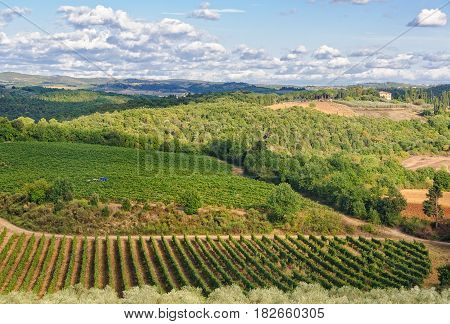Tuscan autumn landscape as seen from the walls of Monteriggioni, Italy