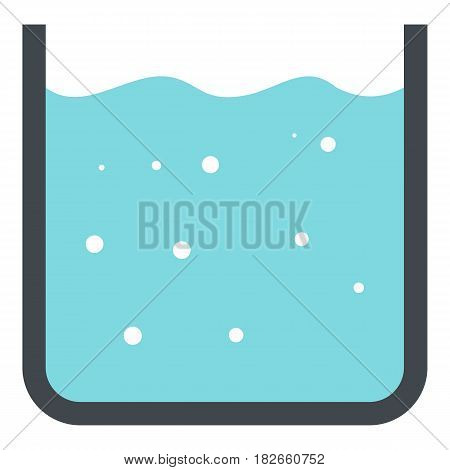 Beaker with pure blue water icon flat isolated on white background vector illustration