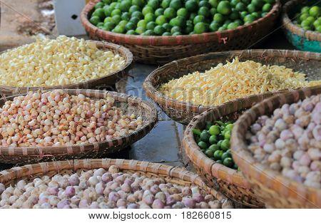 Traditional vegetable and grain shop in Hanoi Old Quarter Vietnam