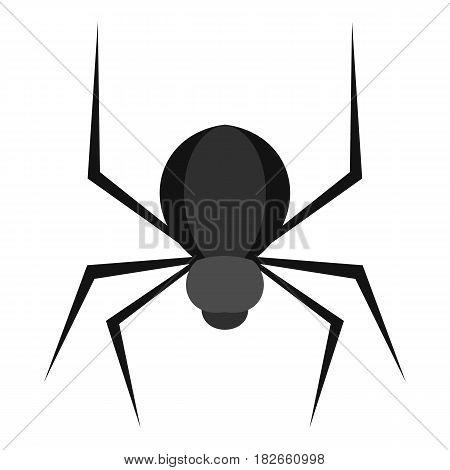 Black spider icon flat isolated on white background vector illustration
