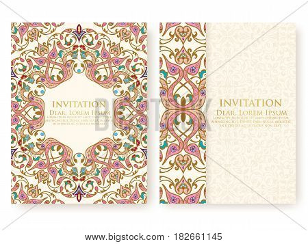 Vector invitation, cards with ethnic arabesque elements. Arabesque style design. Elegant floral abstract ornaments. Front and back side of card. Business cards. eps10