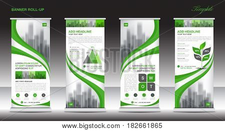 Roll up banner stand template design Green banner layout advertisement stand polygon background vector illustration Business flyer display x-banner flag-banner infographics presentation poster pull up abstract geometric