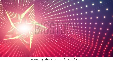 Vector infinite star twisted tunnel of shining flares on violet background. Glowing points form tunnel. Abstract cyber colorful background. Elegant modern geometric wallpaper. Shining points swirl