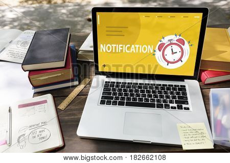 Illustratior of alarm clock notification for important appointment on laptop