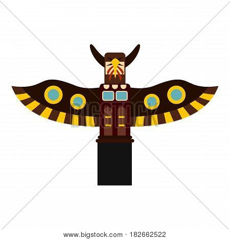 Indian totem pole in Stanley park, Canada icon flat isolated on white background vector illustration