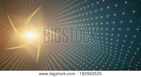Vector infinite star twisted tunnel of shining flares on green background. Glowing points form tunnel. Abstract cyber colorful background. Elegant modern geometric wallpaper. Shining points swirl.