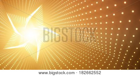 Vector infinite star twisted tunnel of shining flares on orange background. Glowing points form tunnel. Abstract cyber colorful background. Elegant modern geometric wallpaper. Shining points swirl