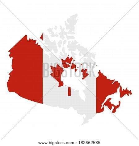 Map of Canada in national flag colors icon flat isolated on white background vector illustration