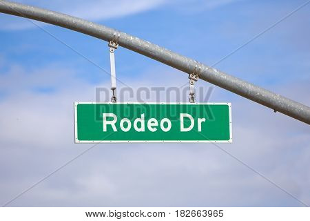 World famous Rodeo drive sign in downtown Los Angeles California.