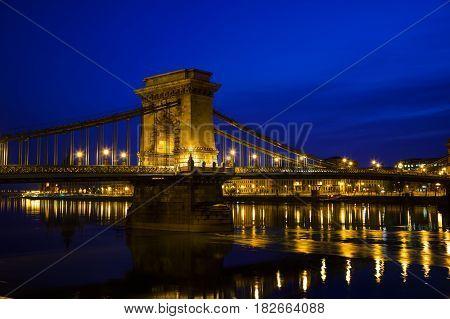 The Szechenyi Chain Bridge in Budapest Hungary