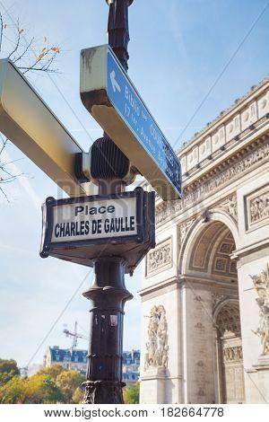 Place Charles De Gaulle sign in Paris France