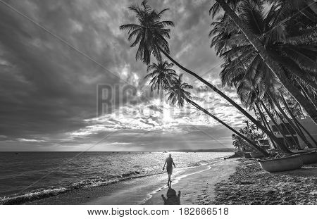 Mui Ne, Vietnam - February 19th, 2017: The man alone go to the end of tropical beach with coconut palm trees as the sun gradually create beautiful setting for weekend guests at paradise beach