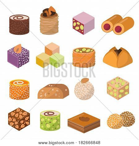 Collection of east delicious dessert isolated on white background. Sweets food confectionery homemade assortment. Chocolate cake tasty bakery assortment.