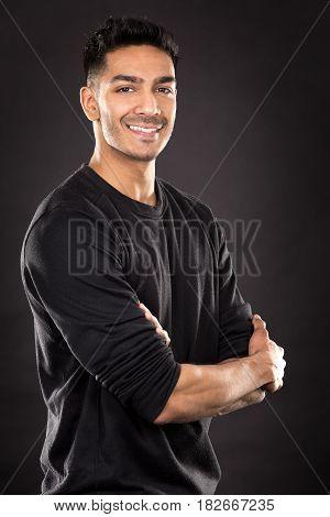 Fitness East Asian Man On Dark Grey Background