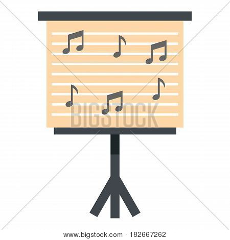Music stand with piano notes icon flat isolated on white background vector illustration