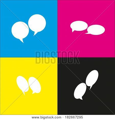 Speech bubble sign. Vector. White icon with isometric projections on cyan, magenta, yellow and black backgrounds.