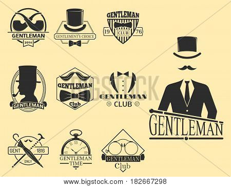 2161befcea8ca5 Vintage style design hipster gentleman logo vector illustration badge  antique graphic design mustache element. Premium