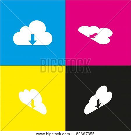 Cloud technology sign. Vector. White icon with isometric projections on cyan, magenta, yellow and black backgrounds.