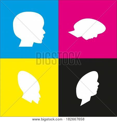 People head sign. Vector. White icon with isometric projections on cyan, magenta, yellow and black backgrounds.