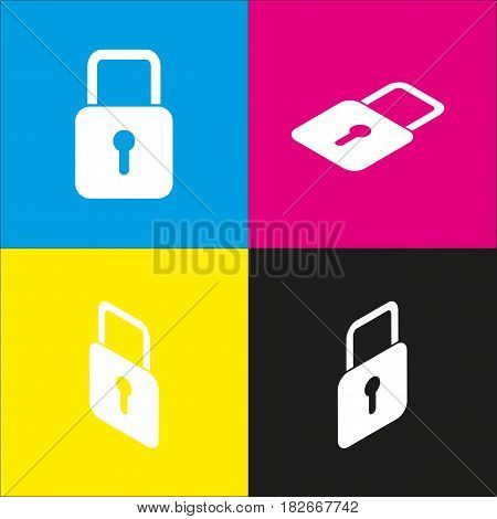 Lock sign illustration. Vector. White icon with isometric projections on cyan, magenta, yellow and black backgrounds.