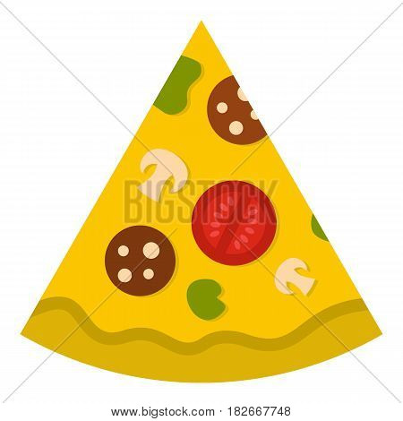 Piece of pizza with sausage, tomatoes and mushrooms icon flat isolated on white background vector illustration