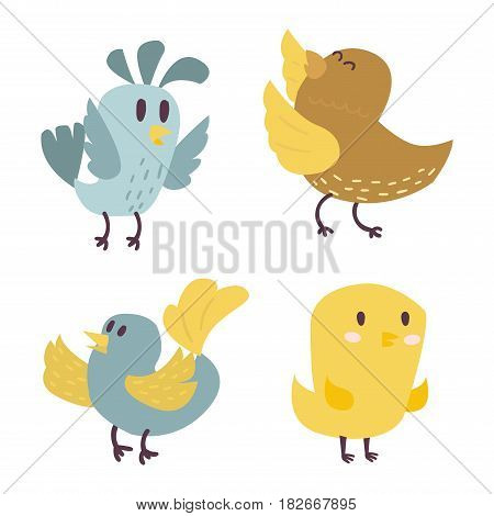 Set of cute birds hand drawn vector happy drawing decoration. Cartoon collection with funny little cute bird family hand drawn. Vector character wing colorful cute birds wild sweet animals.