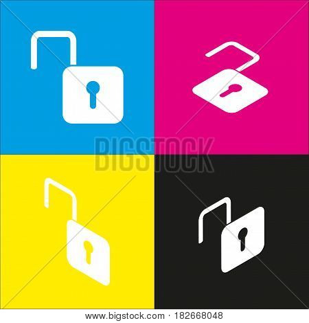 Unlock sign illustration. Vector. White icon with isometric projections on cyan, magenta, yellow and black backgrounds.