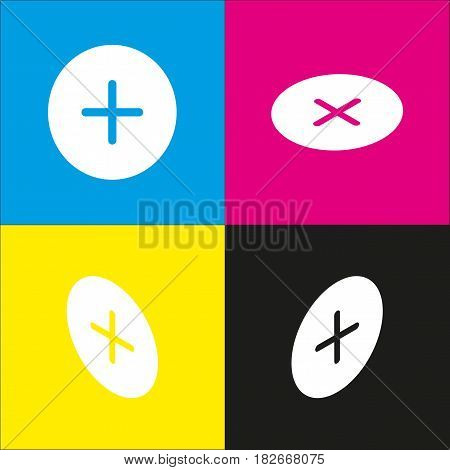 Positive symbol plus sign. Vector. White icon with isometric projections on cyan, magenta, yellow and black backgrounds.