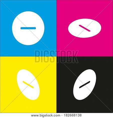 Negative symbol illustration. Minus sign. Vector. White icon with isometric projections on cyan, magenta, yellow and black backgrounds.