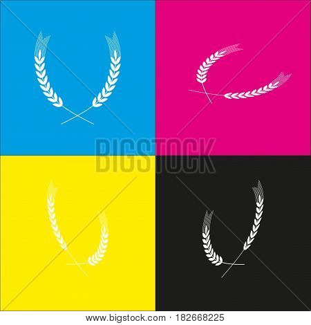 Wheat sign illustration. Spike. Spica. Vector. White icon with isometric projections on cyan, magenta, yellow and black backgrounds.