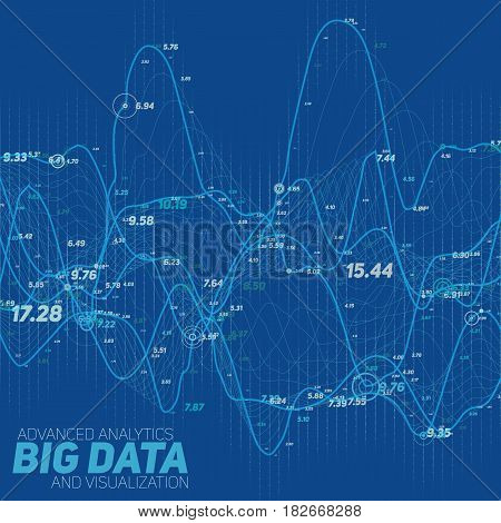 Big data line graph blue visualization. Futuristic infographic. Information aesthetic design. Visual data complexity. Complex data threads graphic visualization. Social network. Abstract graph.