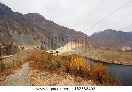 Golden Autumn In Phander Valley, Phander Lake, Ghizer District, Gilgit Baltistan, Northern Pakistan