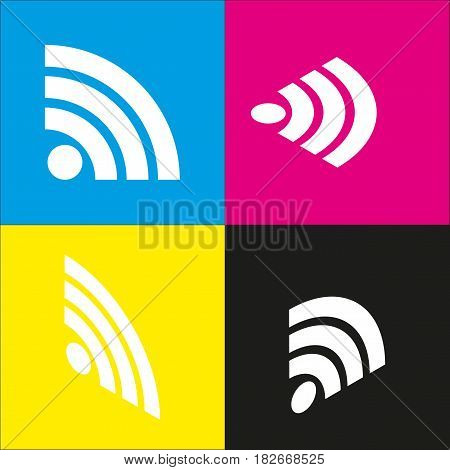 RSS sign illustration. Vector. White icon with isometric projections on cyan, magenta, yellow and black backgrounds.