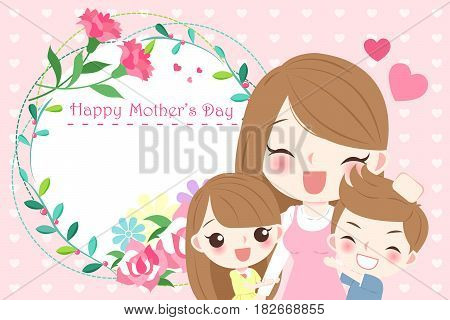 cute cartoon happy mother day for your concept